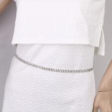 Sexy Women 3-Rows Crystal Diamante Dress Belt Bikini Beach Belly Waist Chain