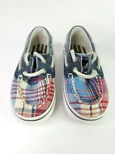 Sperry Top-Sider Multicolor Canvas Bahama Boys Boat Shoes Laces Up Size 6.5 M.