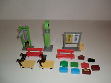 Playmobil Train Station Platform Bank Clock Signpost Shield Baggage Carts 4300