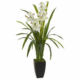 "Nearly Natural 39"" Cymbidium Orchid Artificial Silk Plant Realistic Home Decor"