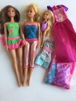 Barbie Lot 3 Dolls, Dresses, and New Package Pillow, Towel, Sheets, Blanket