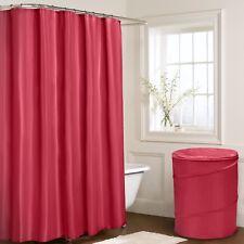 Plain Shower Curtains with 12 Hooks Large Jumbo Pop Up Basket Cream Black White