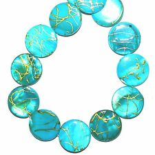 MP767L Aqua Blue & Gold Drizzle 20mm Flat Round Mother of Pearl Shell Beads 16""