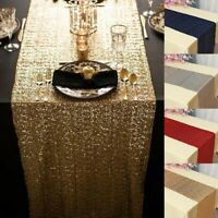 S/M/L Folded Edge Gold Glitter Sequin Table Runner Sparkly Wedding Party Decor