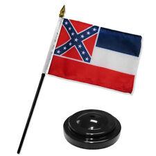 """Mississippi State Flag 4""""x6"""" Desk Set Table Stick Black Base"""