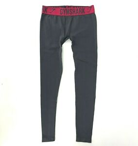 Gymshark Seamless Grey Charcoal Leggings Hot Pink Band Size M Workout Run