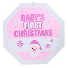 Bébés 1st Noël 25cm Pailleté Plaque Décoration - Blanc & Rose