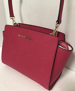 NEW Michael Kors Medium Selma Ultra Pink Saffiano Leather Crossbody Handbag