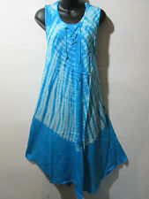 Dress Fits 1X 2X 3X Plus Sundress Turquoise Tie Dye Bell Shaped Lace Up NWT G510