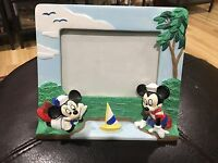 """Walt Disney World 7x6"""" Picture Frame Fits 5x3"""" Mickey Minnie Mouse Sailor Suits"""