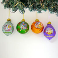 Bradford Disney Dazzling Dreams Glass Ornaments #3 Aurora, Pooh, Daffy, Belle