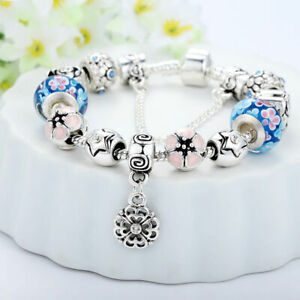 925 SILVER PLATED CHARMS BRACELET W/ FLOWER BEADS / LENGTH 7.5'' / AMAZING LOOK!