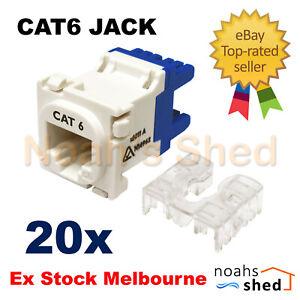 20 x CLIPSAL Compatible Style CAT6 RJ45 8P8C Network Data Jack Mech Insert White