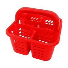 4 Compartment Red Square Cutlery Holder / Rack With Carry Handle