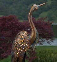 "Copper Patina Heron Solar Stake Garden Metal Statue Bird Art Sculpture Crane 46"""