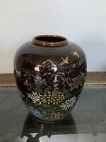 """Japanese Ceramic Porcelain Brown Vase Floral Ginger Jar Japan 5.5"""""""