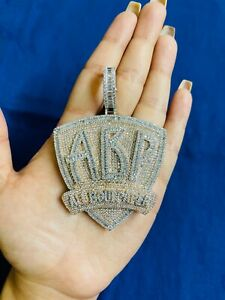 14k White Gold Finish ABP All Bout Paper  Simulated Diamond Pendant w/ Chain