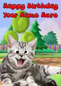 Googly Eyes Cat All Occasions Personalised Greeting Card BirthdayPIDG9