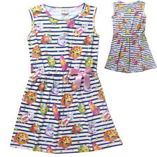 Kids Girls Striped Summer Dress Cartoon Sleeveless Sundress Holiday Skirts 9-10