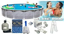 """21 Round 54"""" Tall Saltwater DLX Above Ground Salt Swimming Pool Complete Package"""