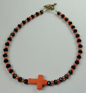 Anklet  Black & Orange Beads  Howlite Religious Cross Handcrafted Foot Jewelry