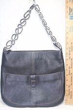 Peter Kent Black Pebbled Leather Shoulder Bag