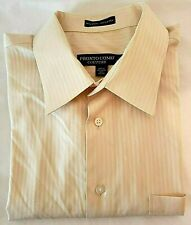 Pronto Uomo Couture Mens Yellow Stripe Spread Collar Dress Shirt 17 32/33