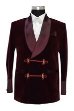 Men Smoking Jacket Burgundy Elegant Stylish Designer Tuxedo Party Wear Blazers