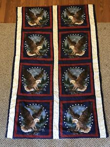 HANDMADE PATRIOTIC USA WHITE BLUE RED Quilt Lap BLANKET Throw Bald Eagle America