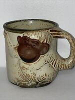 Vintage John Buck Art Studio Pottery Handcrafted Monkey Mug Cup