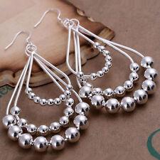 Womens 925 Sterling Silver Chandelier Beads 84mm Long Drop Dangle Earrings EA172