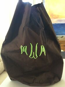 Monogrammed Brown Milano Series XL Laundry Tote Bag Shoulder Strap MWM Green