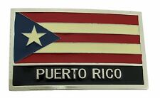 Puerto Rico United States Belt Buckle Silver Metal Flag Mens Western Rodeo New