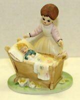 Vintage Lefton Ceramic Bisque Mother Looking Over Child Crib Decorative Figurine