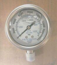 """301LFW-254V 2.5"""" Glycerin Filled SS 316 Internals Gauge 1/4"""" NPT LM 0/15k psi"""