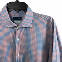 Peter Millar Collection Mens Egyptian Cotton Plaid Long Sleeve Shirt Large L