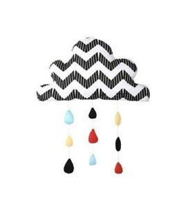 PEANUT SHELL Cloud Raindrops Ceiling Wall Mobile Baby Nursery Decor BLACK/WHITE