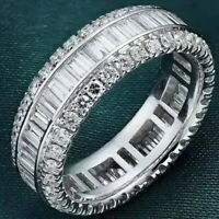 2Ct 100% Natural 14K White Gold Baguette Round Cocktail Diamond Band Ring RU15
