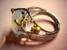 Ring versilbert ovaler Mondstein organisch Äste Zweige goldene Kugeln UNIKAT