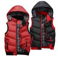 New Mens Body Warmer Gilet Hoodie Hooded Contrast Hood Sleeveless Jacket M - 3XL