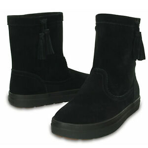 Crocs LodgePoint Women's Suede Leather Pull On Boots Shoes Ugg - Black