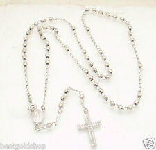 """25"""" 4mm Anti Tarnish Diamond Cut Bead Rosary Chain Necklace Real Sterling Silver"""