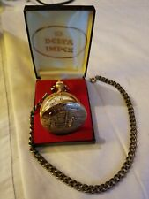 Pocket Watch w/ Box & Chain Fishing Vintage Swiss Made Impex Wind Up 17 Jewels