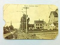 Vintage Postcard 1913 Main St. Railroad Washburn ME Maine