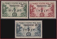 """INDOCHINE  N°296/298** Type """"France d'Outre-Mer"""" sur. 1945 French Indo China NH"""