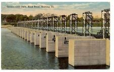 1916 STERLING IL ROCK RIVER GOVERN. DAM OLD POSTCARD PC3723