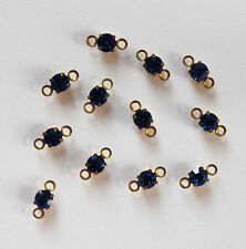 VINTAGE 12 RHINESTONE CONNECTOR BEAD DOLL JEWELRY 19ss SWAROVSKI ELEMENT BLUE