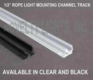 "1/2"" 4 Foot Rope Light Channel Track - Clear or Black - PVC Plastic - 10 Pack"