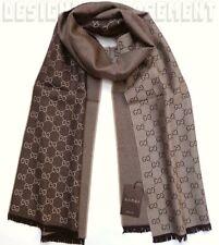 "GUCCI beige/brown Wool Jacquard HALF GG unisex 16x74"" Muffler Scarf NWT Authentc"