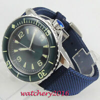 45mm Corgeut Blau steril Zifferblatt Saphirglas leder Automatische mens Watch
